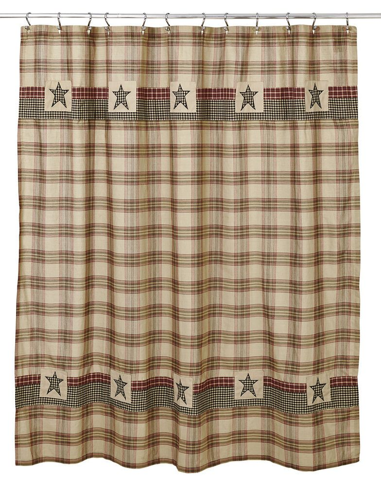 Plymouth Patchwork Shower Curtain By Olivias Heartland Burgundy Black Tan Green OliviasHeartland Country