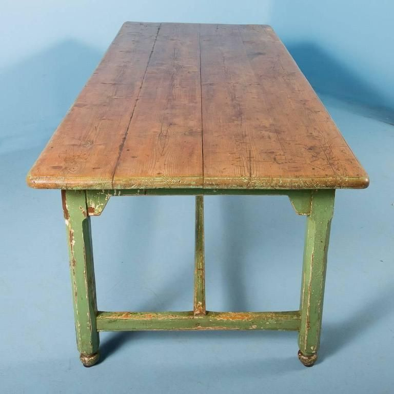 Antique Pine Harvest Table From Sweden