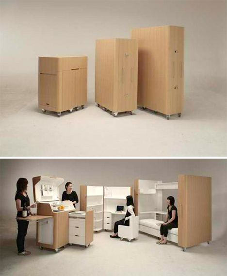 Small Apartment With Foldaway Features: Fold-Out Room: 12 Ultra-Compact Living Pods