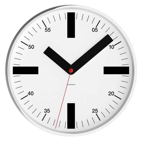 New 12 Modern Wall Clock Chrome Case W Glass By Jonssonclocks Wall Clock Wall Clock Modern Clock