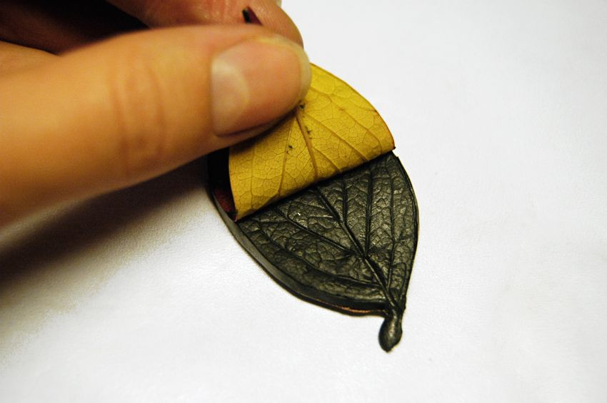 how to make polymer clay earrings with gold leaf