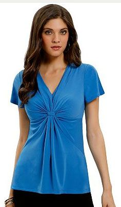 25020be59116d1 Kohl s Women s Daisy Fuentes Solid Empire Knot-Front Top  16.99 (53% Off)  maybe in a fall color