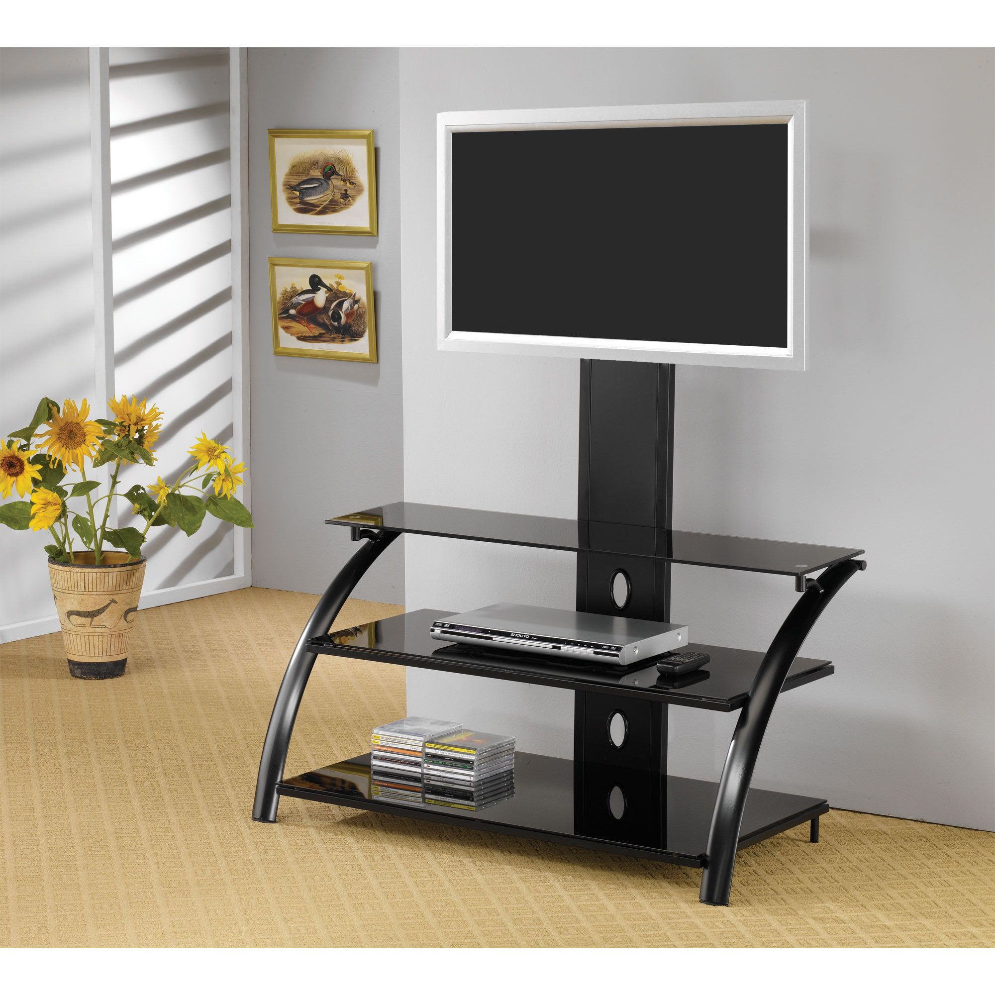 Coaster Company Black Metal Tempered Glass 42 Inch Tv Stand With