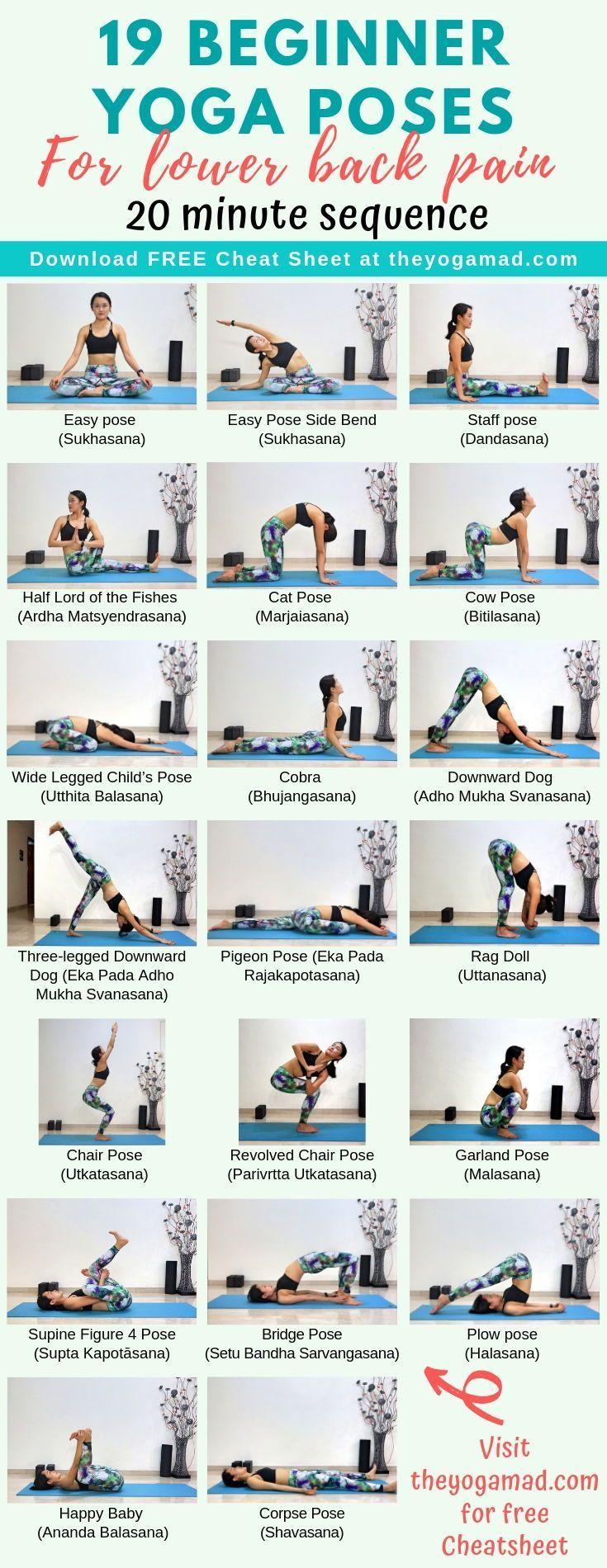 Eine Yoga-Sequenz für Anfänger zur Behandlung von Rückenschmerzen. Ich habe u…