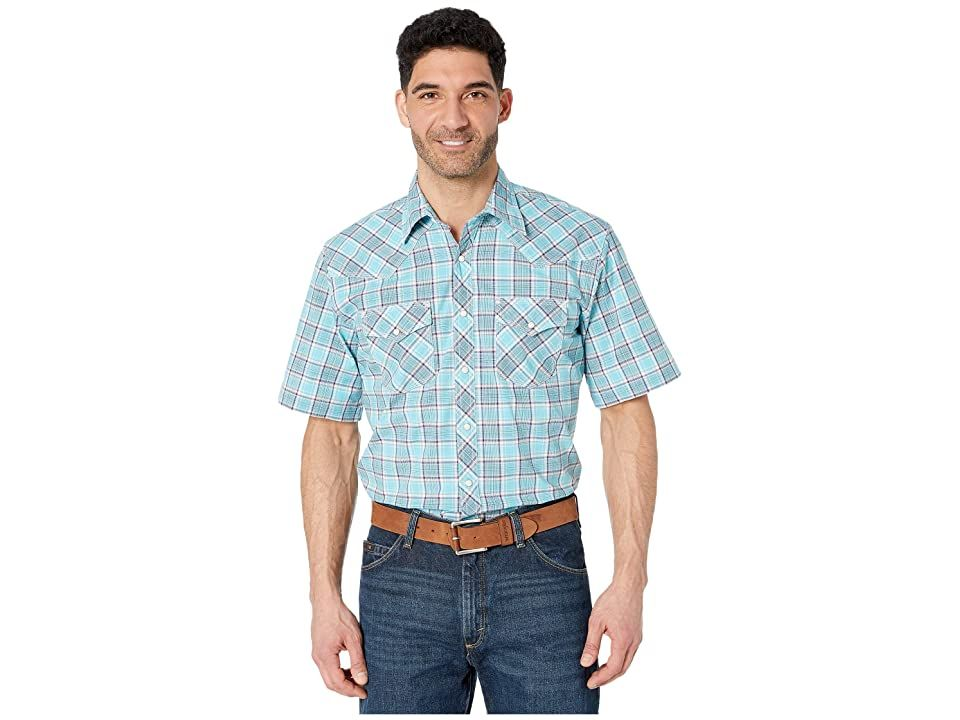 Wrangler 20X Short Sleeve Plaid Snap Mens Clothing Light Blue/Navy