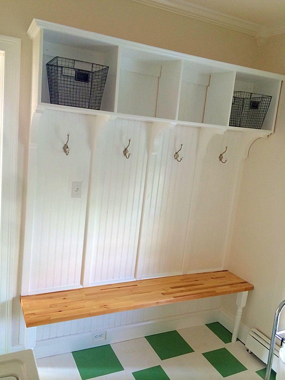 Laundry Room Mud Room With Handmade Bead Board Coat Rack Oak Butcher Block Seat And Storage Shelf Beadboard Storage Shelves Bathroom Medicine Cabinet