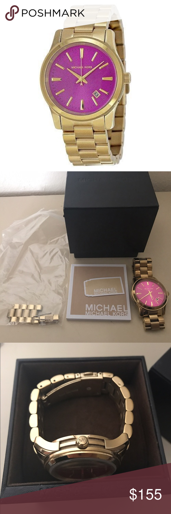 Michael Kors Watch Gold Michael Kors Runway Pink Dial Gold-Tone Stainless Steel Watch. Comes with Original Box, Book, and Links. Gently Used. Excellent Condition. Michael Kors Accessories Watches