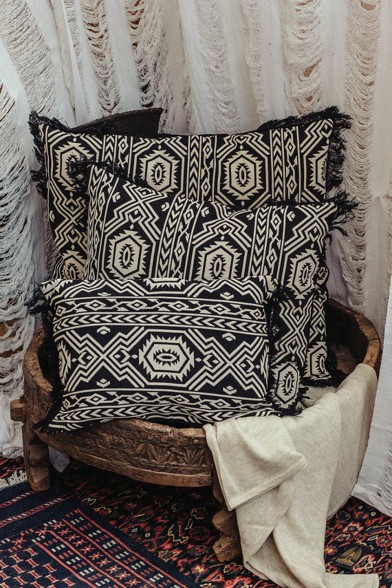 Tribal Throw Pillow Cover Knitted Black And White Decorative Pillow Inspiration Large White Decorative Pillows