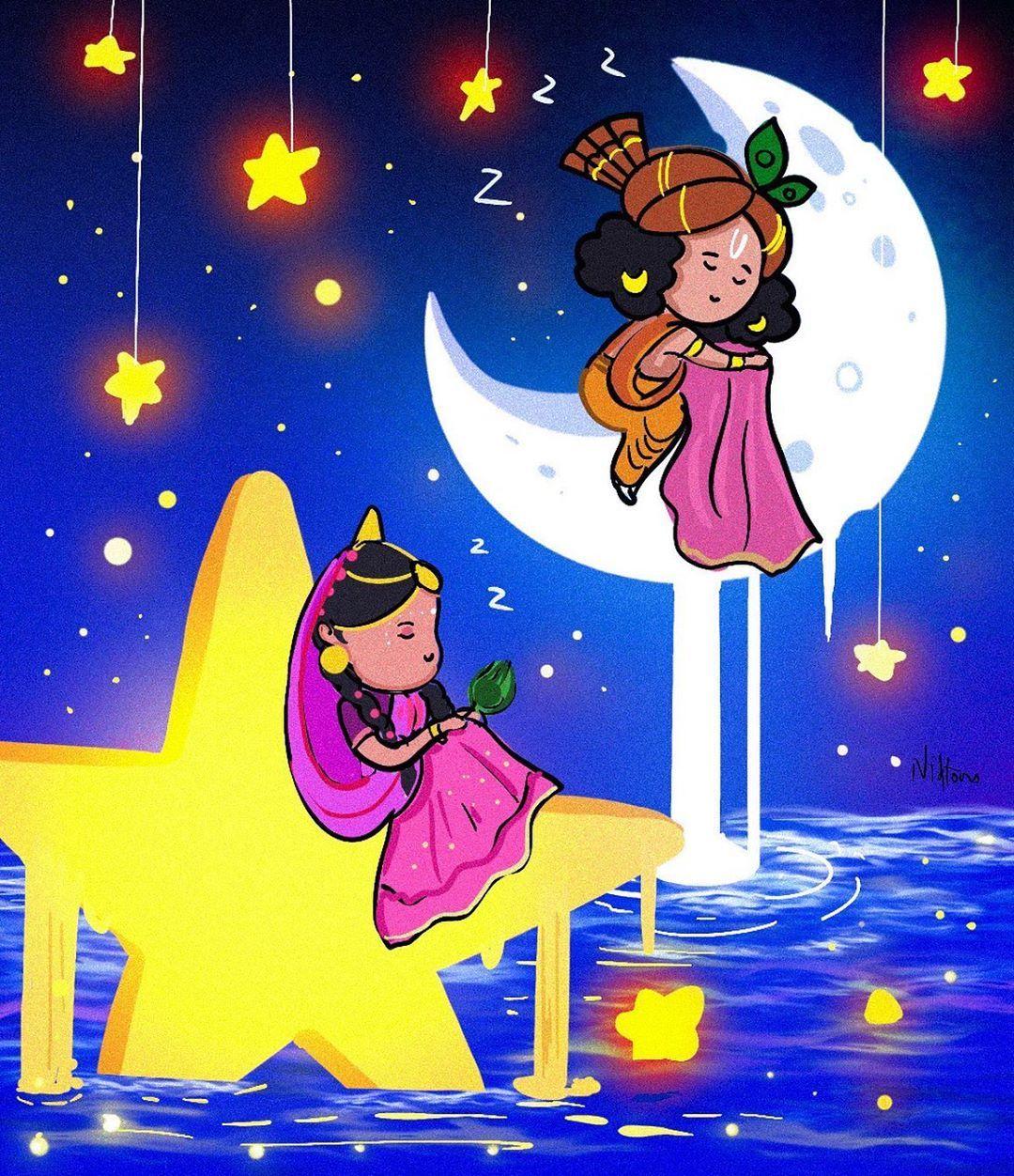 nidhi draws on instagram good night everyone drawthisinyourstyle radhakrishna krishna painting cute krishna krishna radha painting krishna painting cute krishna