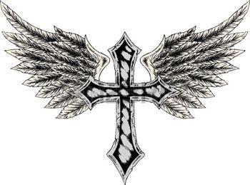 Tatouage Gothique La Croix Et Aile Heraldique Illustration Tattoo
