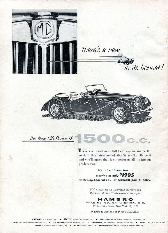 1954 Mg Series Tf Advertisement Road Track December 1954 Car Ads Morris Garages Advertising