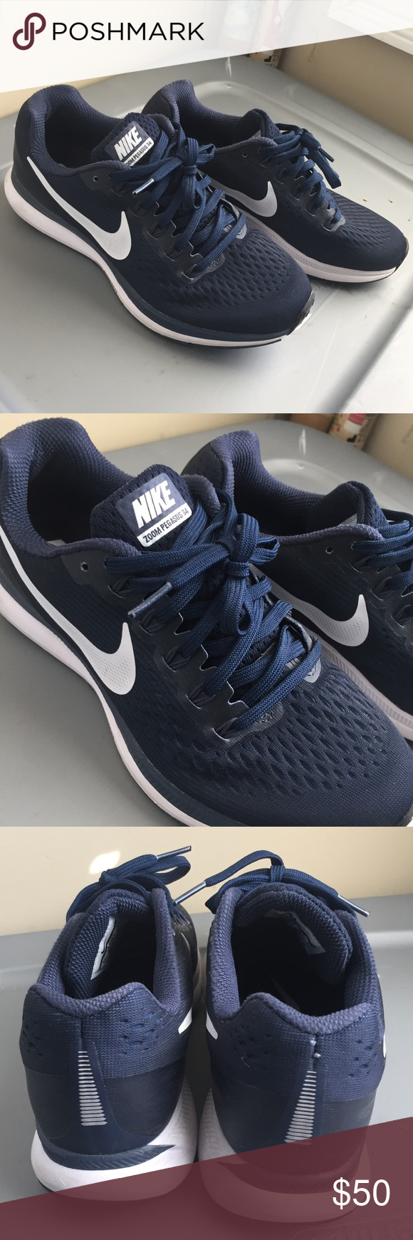 14a620eb385ce Nike Zoom Pegasus NAVY BLUE Size 6 men 7.5 women Nike Zoom Pegasus NAVY BLUE  Size 6 men Only worn a few times I wanted a pair of all navy shoes so I ...