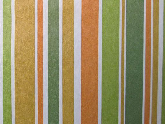 Items Similar To Vintage 70s Retro Orange Green Yellow Stripe Wallpaper On Etsy 70s Retro Yellow Stripes Wallpaper Striped Wallpaper Green white gold wallpaper stripes