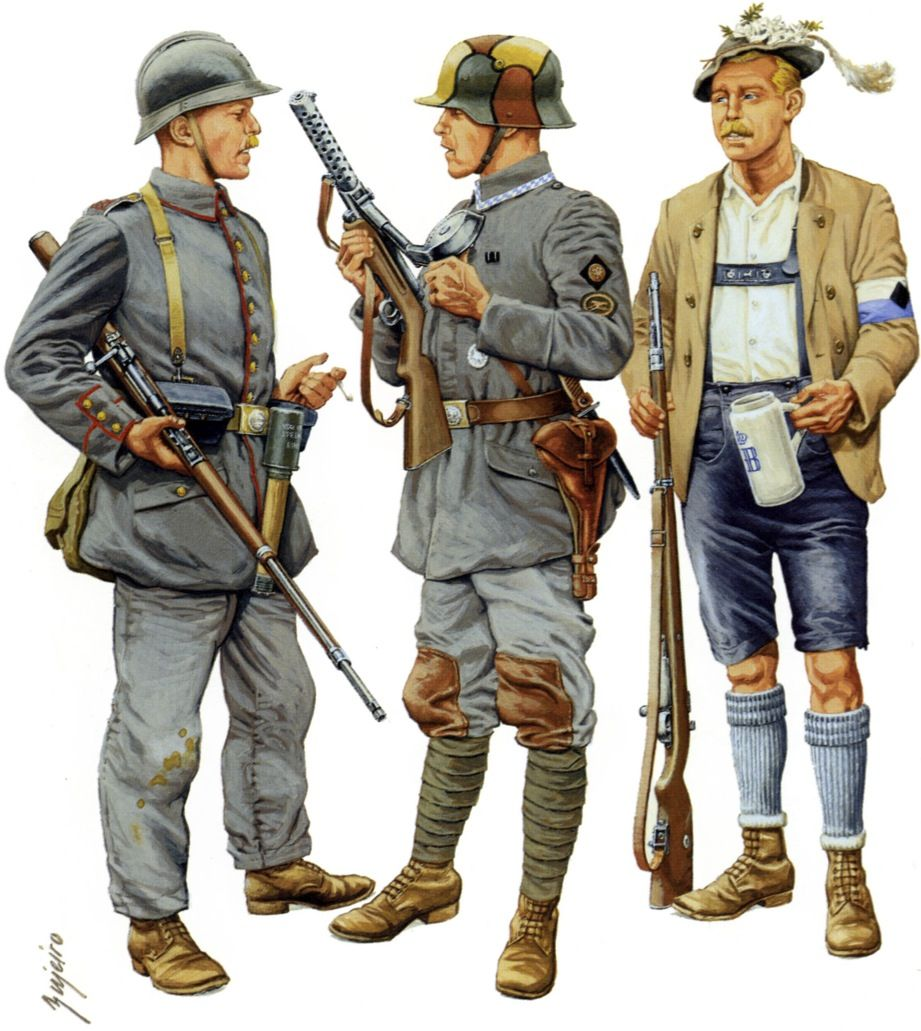 """German Freikorps, Suppression of Bavarian Communists, May 1919 Volunteer, Freikorps Bayreuth """" A peculiarity of the unit raised in this Bavarian town was the use of French M1915 helmets with the front..."""