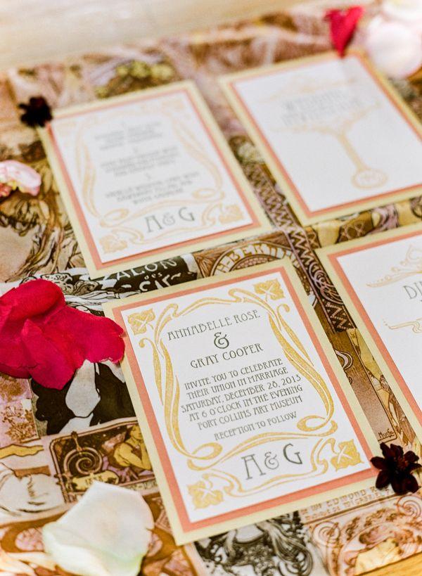 paper style wedding invitations%0A art deco inspired wedding invitation suite  weddinginvites   handpaintedinvites  weddingchicks http