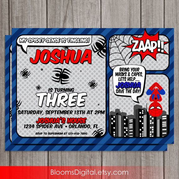 Spiderman Invitation Superhero DIY Printable by BloomsDigital 650