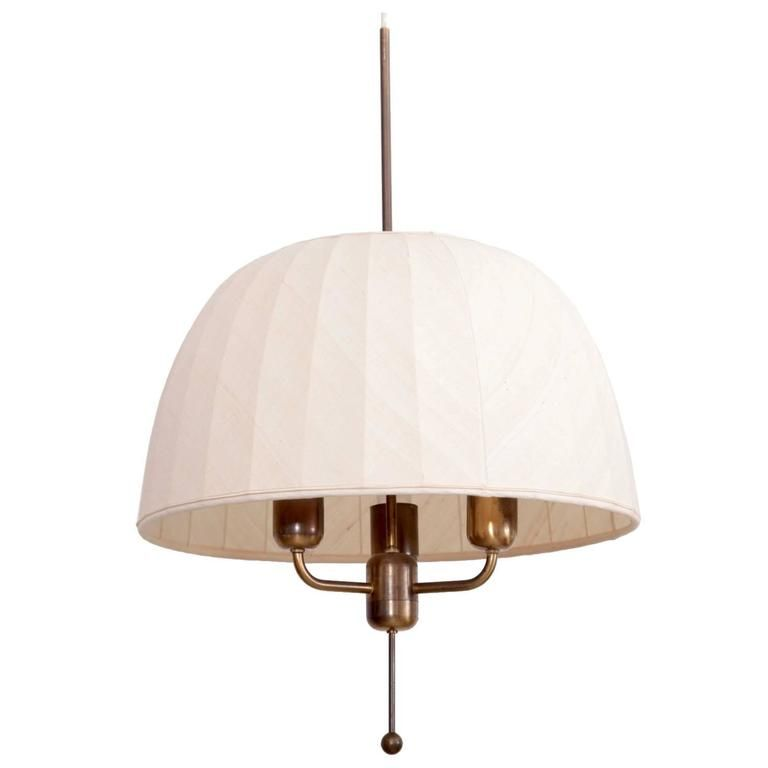 Hans-Agne Jakobsson T549/3 Carolin Chandelier with Silk Shade and Brass Frame - eautiful and rare large ceiling light with three light sources in brass with a hand-stitched silk shade designed by Hans-Agne Jakobsson for Hans-Agne Jakobsson AB Markaryd Sweden in 1963. 3 x E27/Model A and 75 watts each max.