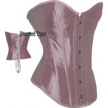 9c7da0f0ec Elegant long baby pink satin corset. www.discreettiger.com.au Bridal Robes