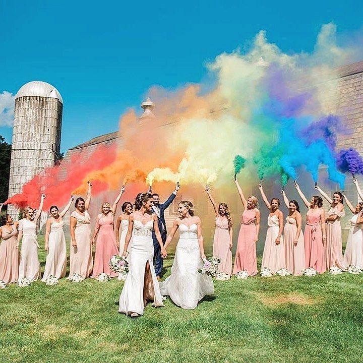 "Kleinfeld Bridal on Instagram: ""Life is more colorful with you! 👭🌈 Double tap if you ❤️#Kleinfeld bride Sarah & Victoria's #Pride inspired wedding photos as much as we do!…"""