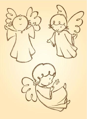 Hand Drawn Set Of Cute Angels Properly Grouped So Its Easy To Move Artesanias De Angeles Como Dibujar Cosas Artesanias En Piedra