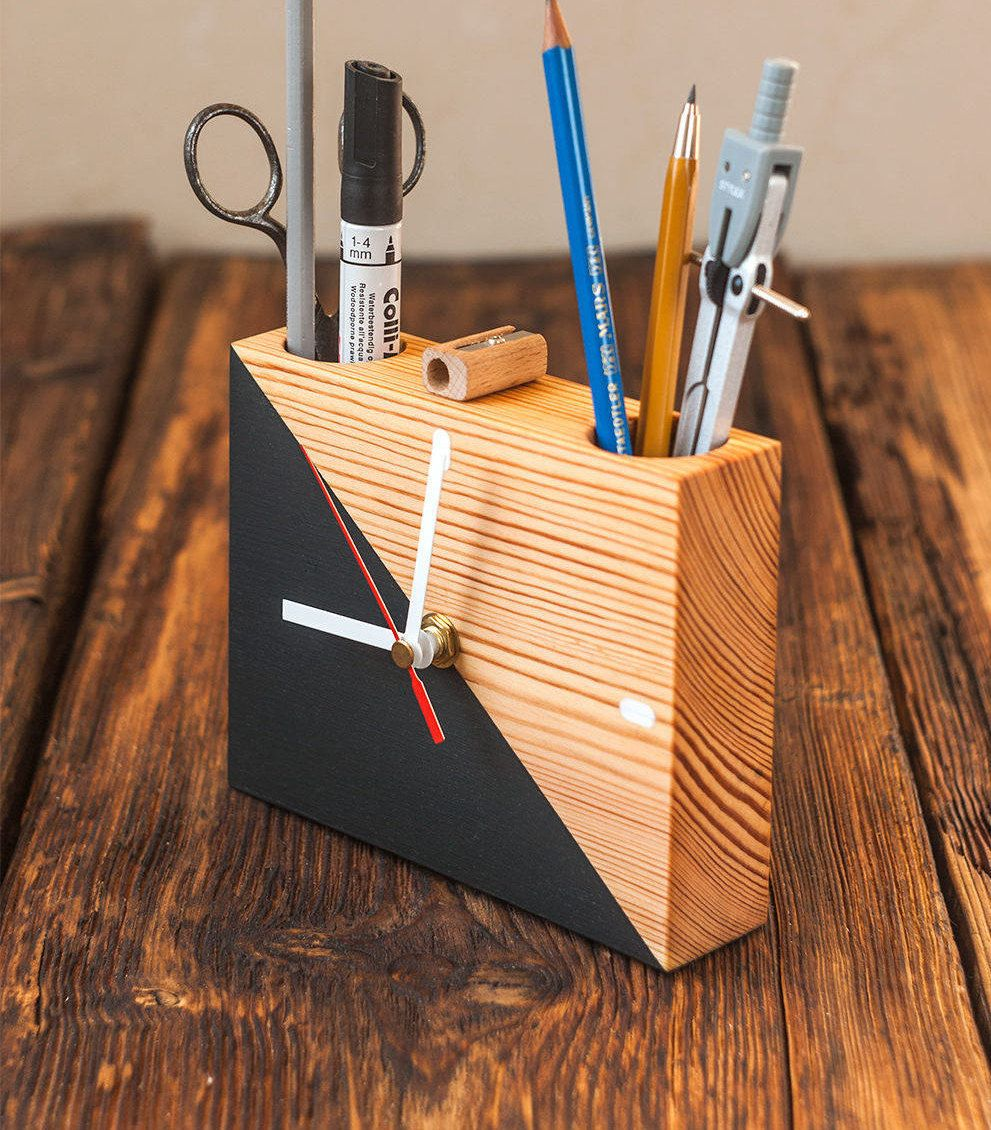 Modern Desk Organizer Wooden Clock Pen Holder Reclaimed
