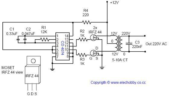 conversor dc    ac 12v para 220v simples e potente