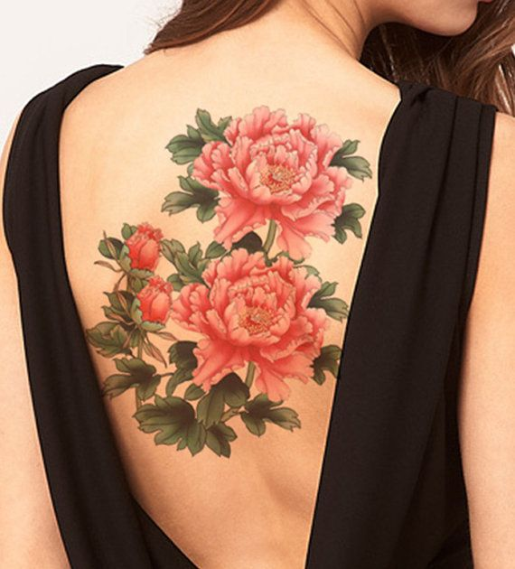 Peony flower Large temporary tattoos Shoulder by ...