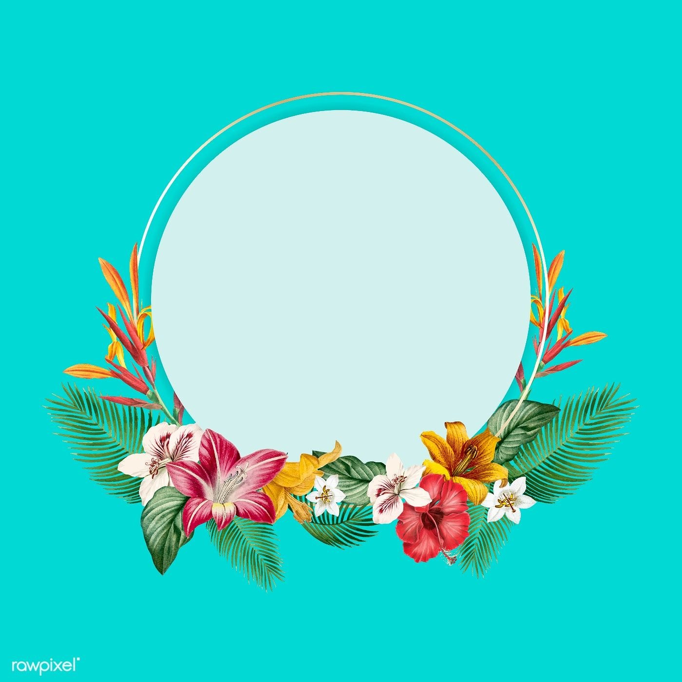 Download Premium Vector Of Tropical Round Frame On Blue Background Vector    Blue Backgrounds, Round Frame, Flower Background Wallpaper