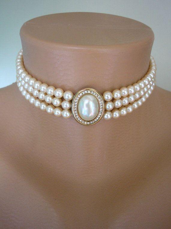 6011fc5f7409d Vintage Pearl Choker, Attwood & Sawyer , Bridal Pearls, Pearl ...