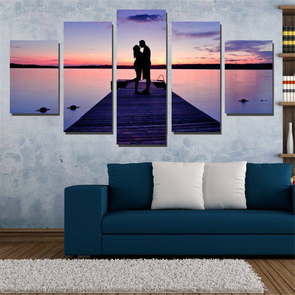 living room art prints%0A Couples In The Sunset Mordern Canvas Painting Unframed Wall Painting Art  Print Oil Picture Seaview Modular
