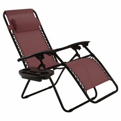 Freeport Park Ivybridge Zero Gravity Reclining Chaise Lounge Color Wine Outdoor Chairs Beach Patio Reclining Sun Lounger