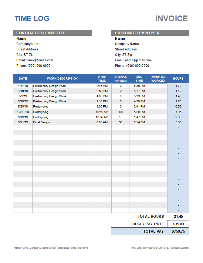 Download A Simple Time Log Template For Excel To Track Time Worked On Specific Tasks Useful For Employees Contractors F Time Log Business Template Templates