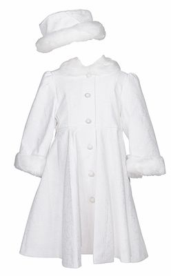 Sarah Louise Girls Winter White on White Floral Dress Coat with ...