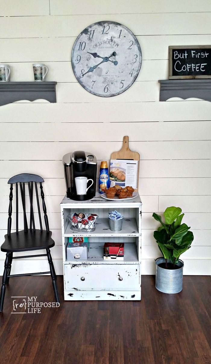small repurposed nightstand coffee station MyRepurposedLifecom Chippy