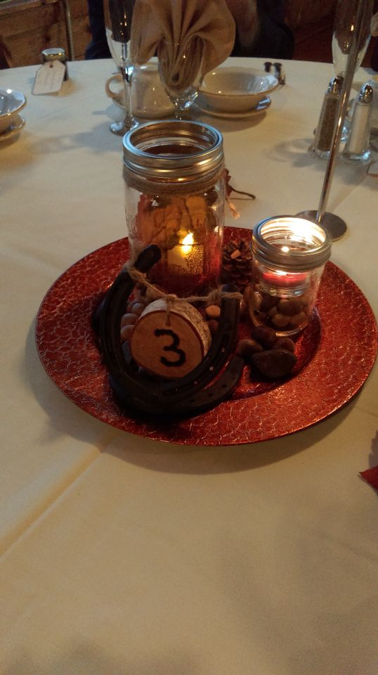pictures of wedding centerpieces using mason jars%0A Rustic fall wedding centerpiece using mason jars filled with Apple spice  potpourri  river rocks and