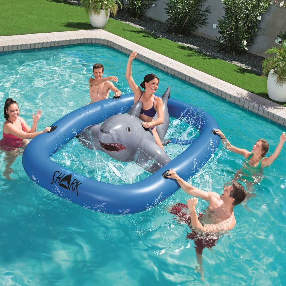 Bestway Tidal Wave Inflatable Shark Ride On Pool Toy Game 41124e The Home Depot In 2021 Funny Pool Floats Cool Pool Floats Inflatable Shark