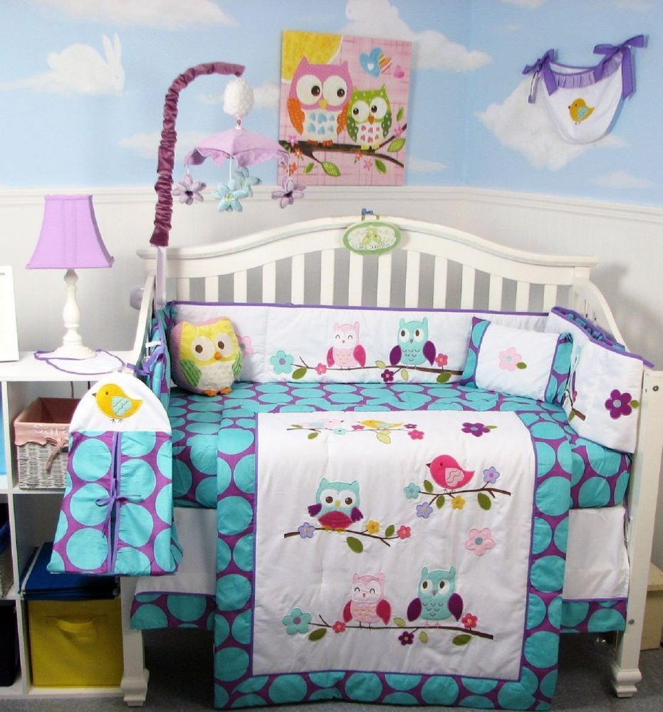 Girl Crib Bedding Set Happy Owl Family Infant Baby Nursery 14 Pc