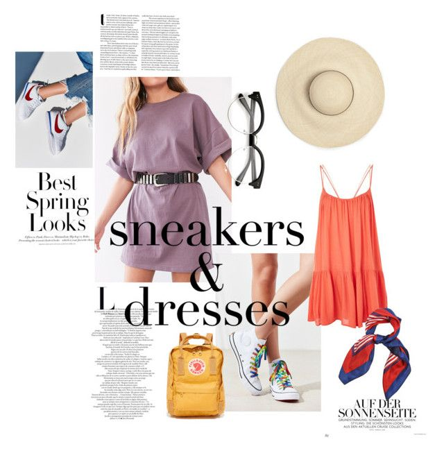 """""""Sneakers and dresses"""" by emma-leeman ❤ liked on Polyvore featuring H&M, Silence + Noise, Converse, NIKE, Topshop and Fjällräven"""