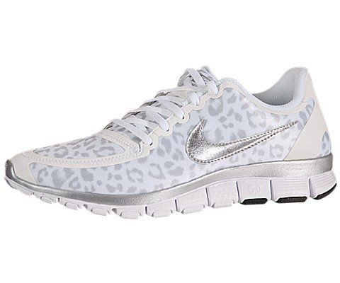 nike womens free 5.0 v4 - white / metallic silver-wolf grey