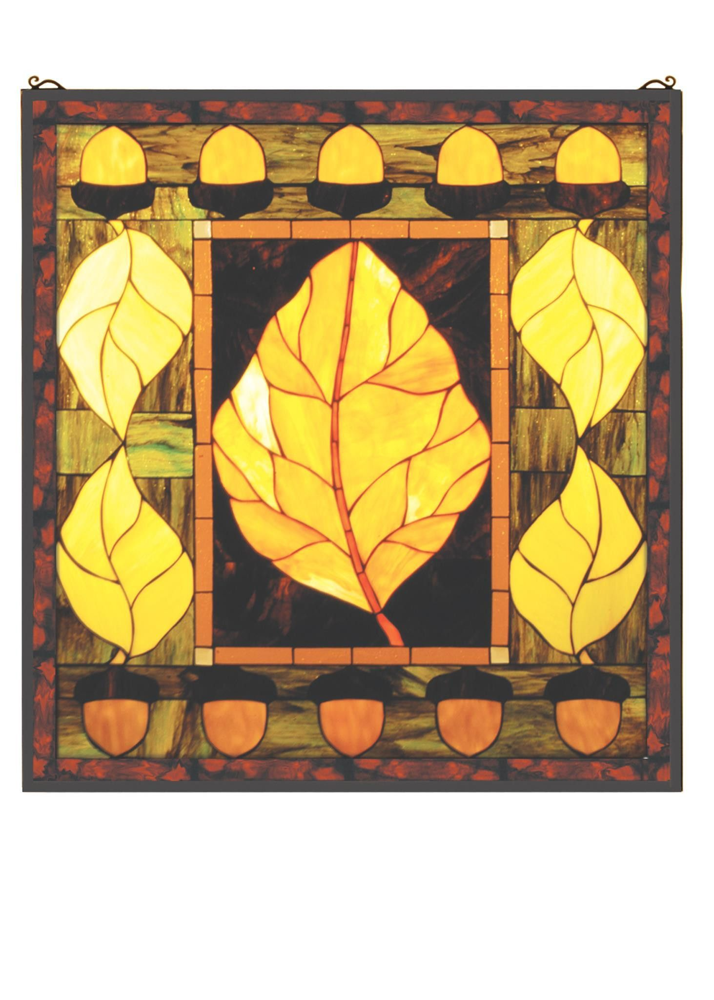 27 Inch W X 29 Inch H Harvest Festival Stained Glass Window