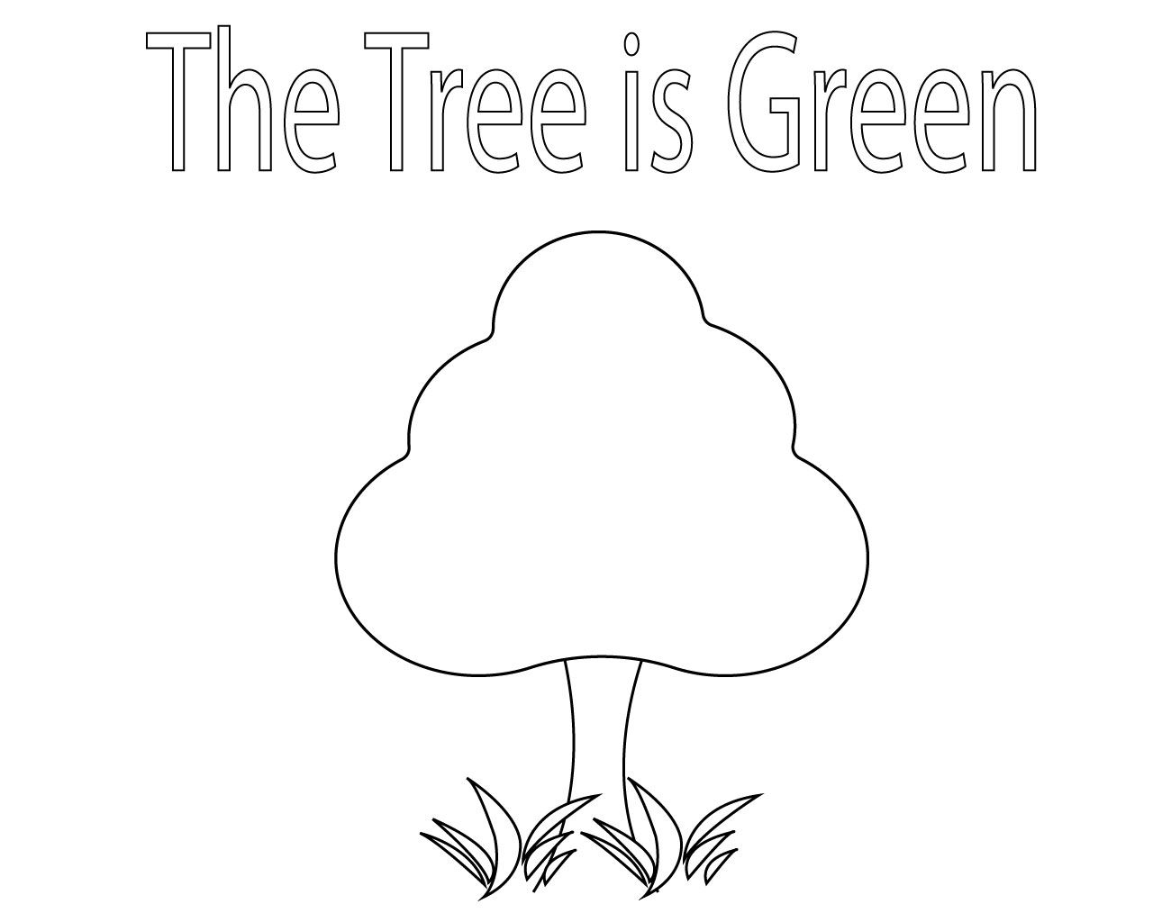 Free Green Coloring Pages For Kids Tree Coloring Page Leaf