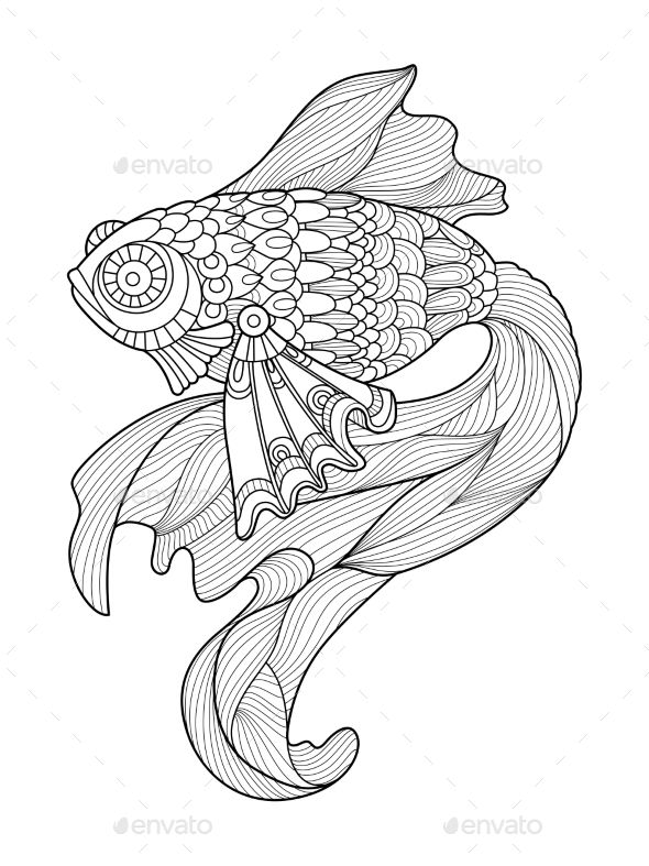 gold fish coloring book for adults vector - Fish Coloring Book