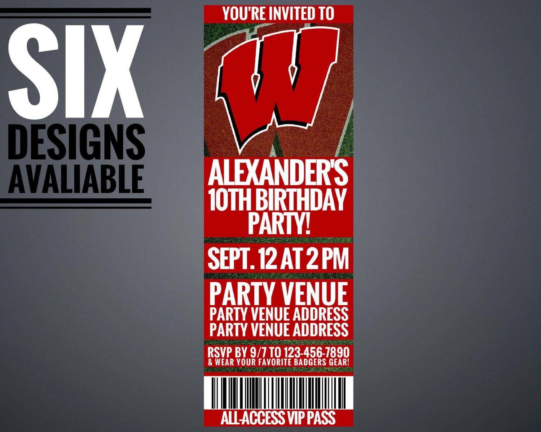 birthday party invitations printable%0A Wisconsin Badgers Invitation  University of Wisconsin Invitation   Printable by GamedayPrintable on Etsy https