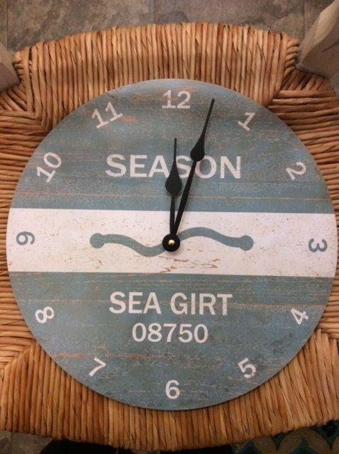 Jersey S Sea Girt Custom Beach Badge Wall Clock Nicely Made Wood By Ajersey