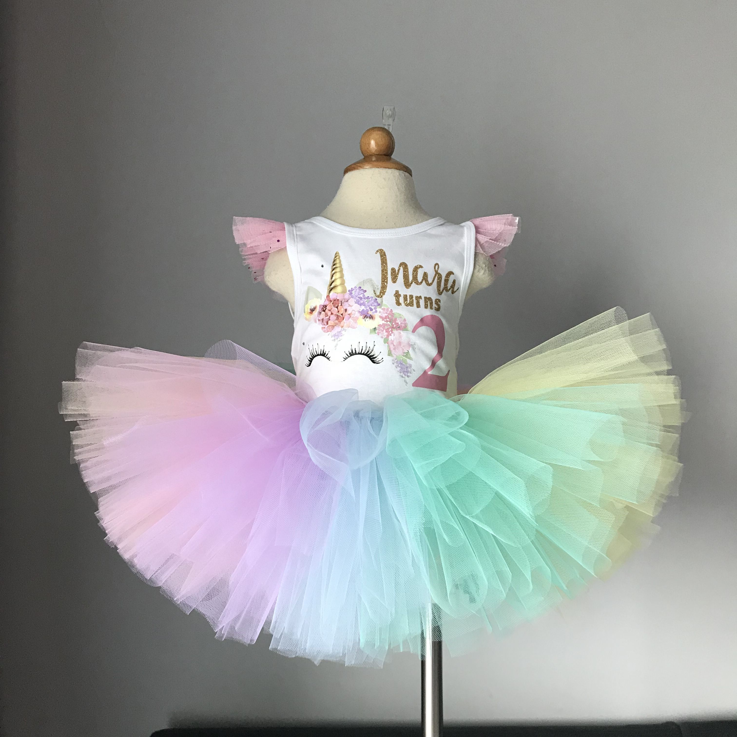 a77cbe64cbebd Unicorn Pastel Rainbow Tutu Outfit for a unicorn birthday party ...