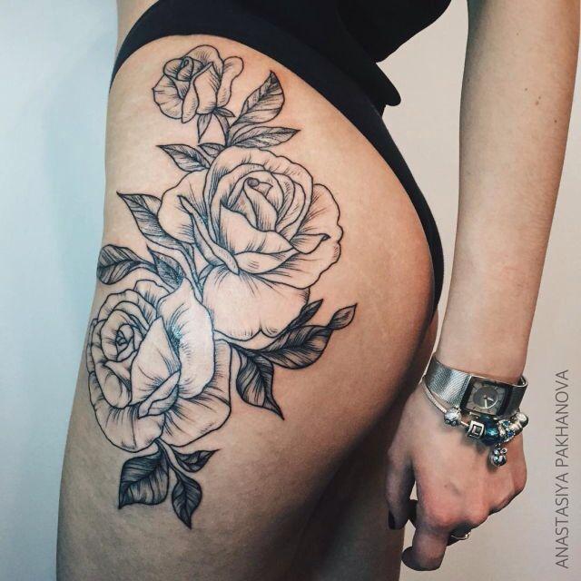Rose Tattoo Hip Thigh Tattoos Thigh Tattoos Women Tattoos