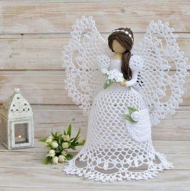 Ángeles de ganchillo son un adorno popular. Este patrón ángel en ...