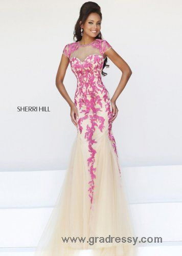 2015 Nude Pink Floral Embroidered Sheer Top Evening Gown | mermaid ...