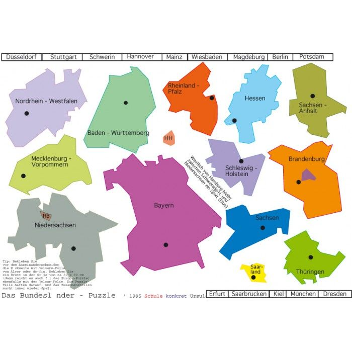 Bundesländer-Puzzle | Schule | Pinterest | School, Teaching ideas ...