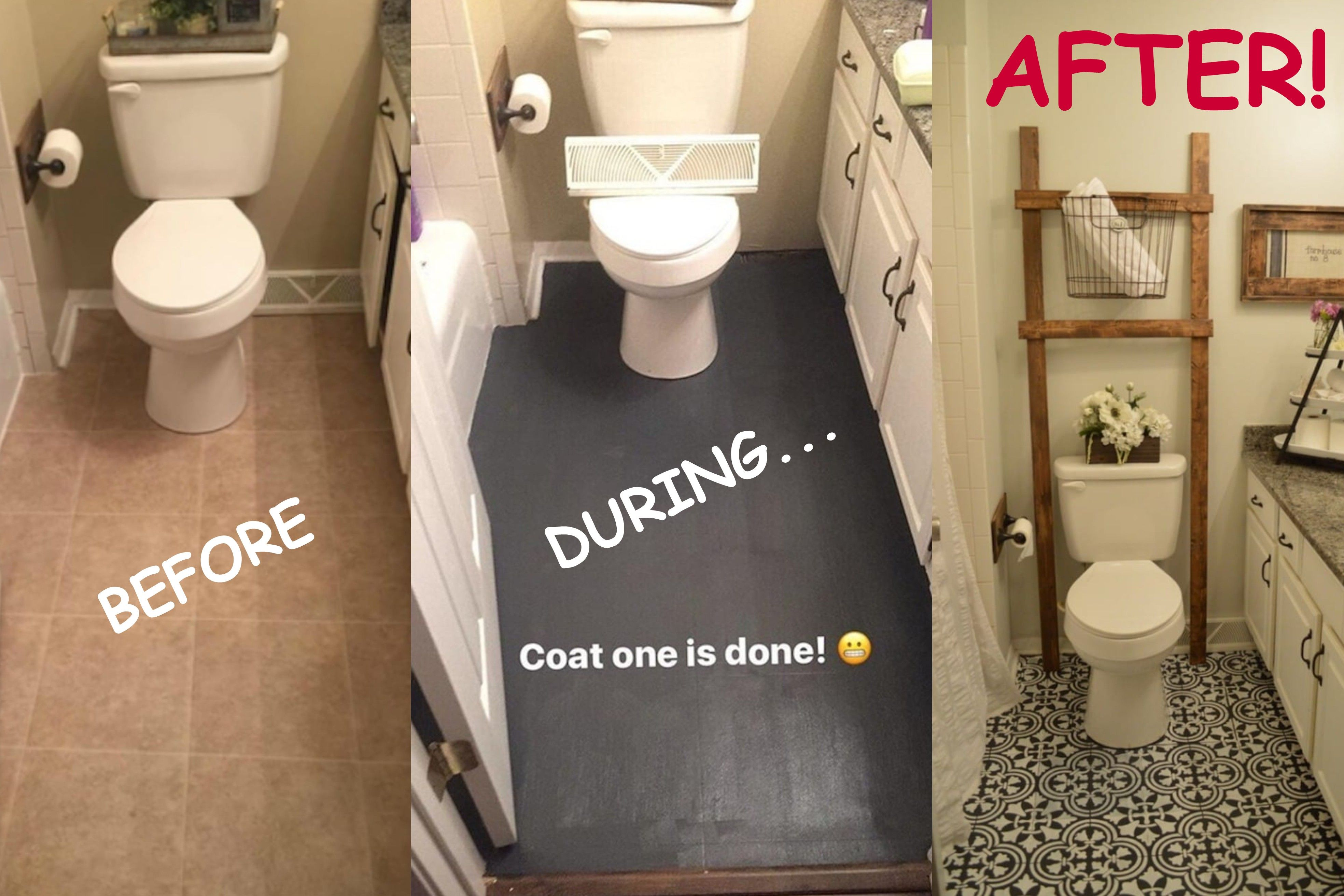 Mom Totally Transforms Her Bathroom By Dumping Black Paint Onto